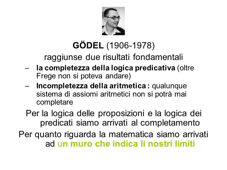 GÖDEL (1906-1978) raggiunse due risultati fondamentali –la completezza della logica predicativa (oltre Frege non si poteva andare) –Incompletezza della aritmetica : qualunque sistema di assiomi aritmetici non si potrà mai completare Per la logica delle proposizioni e la logica dei predicati siamo arrivati al completamento Per quanto riguarda la matematica siamo arrivati ad un muro che indica li nostri limiti