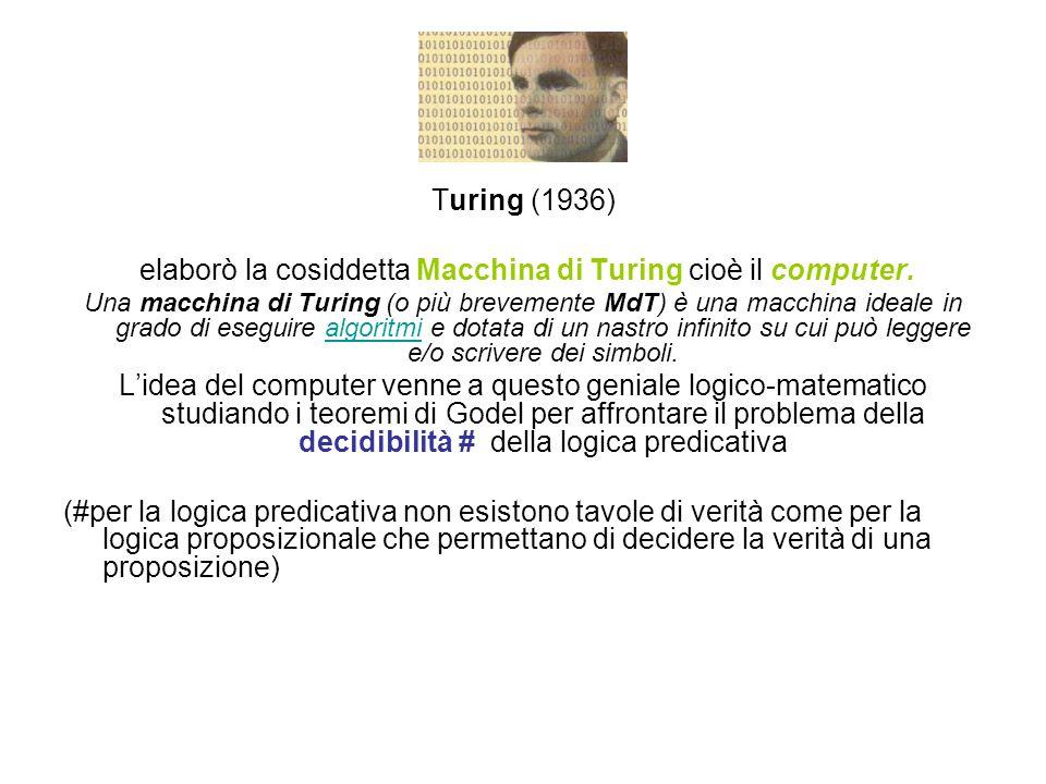 Turing (1936) elaborò la cosiddetta Macchina di Turing cioè il computer. Una macchina di Turing (o più brevemente MdT) è una macchina ideale in grado