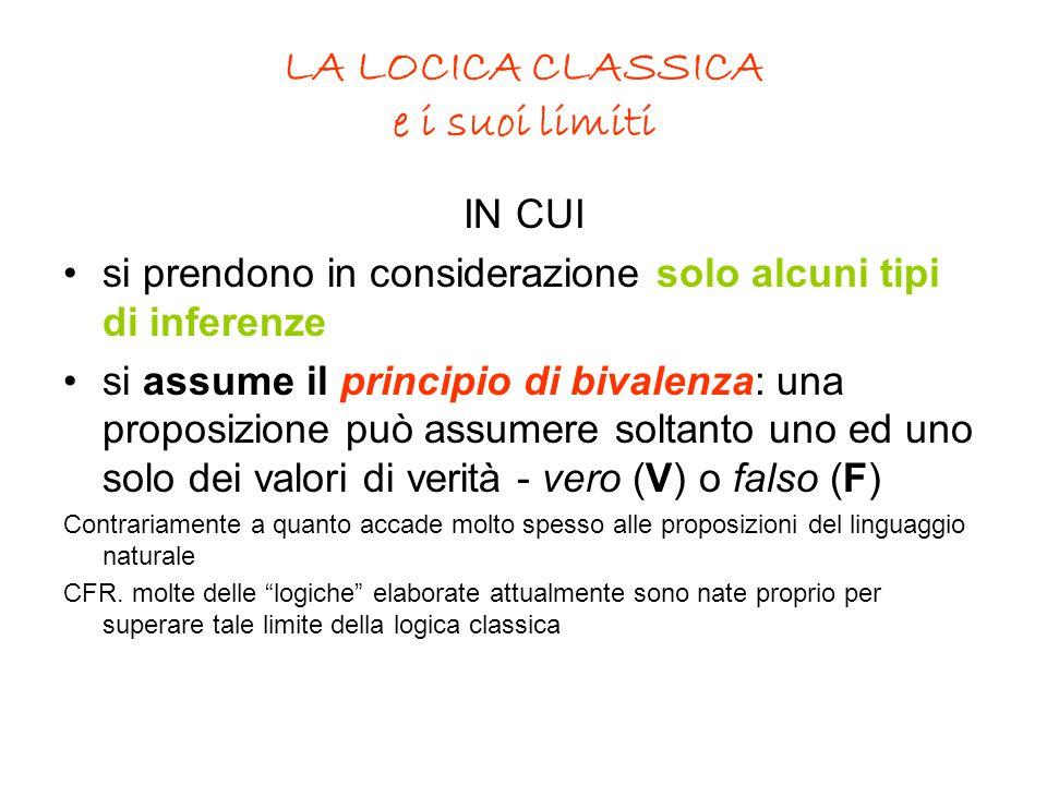 LA LOCICA CLASSICA e i suoi limiti IN CUI si prendono in considerazione solo alcuni tipi di inferenze si assume il principio di bivalenza: una proposi