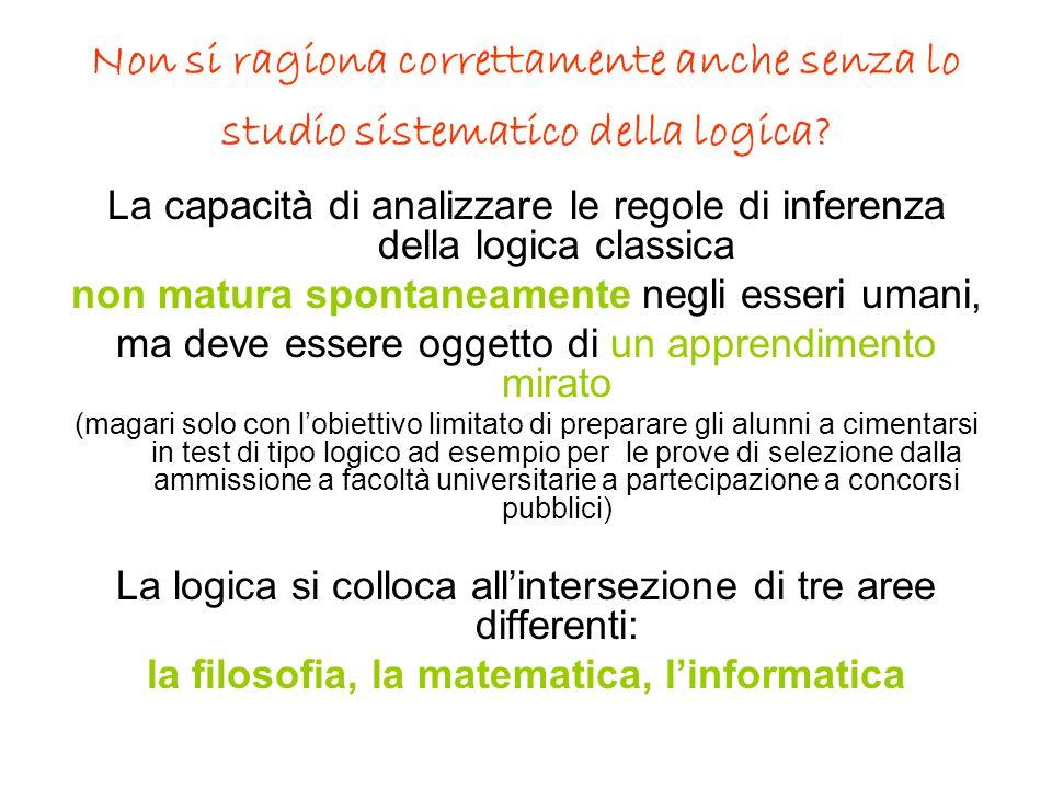 Non si ragiona correttamente anche senza lo studio sistematico della logica? La capacità di analizzare le regole di inferenza della logica classica no
