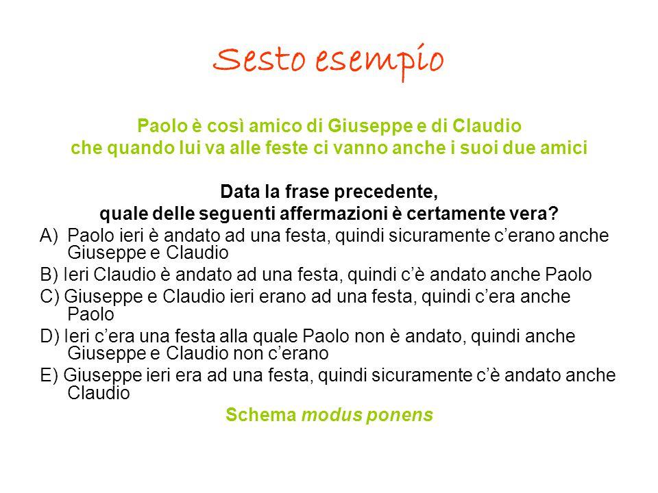 Sesto esempio Paolo è così amico di Giuseppe e di Claudio che quando lui va alle feste ci vanno anche i suoi due amici Data la frase precedente, quale
