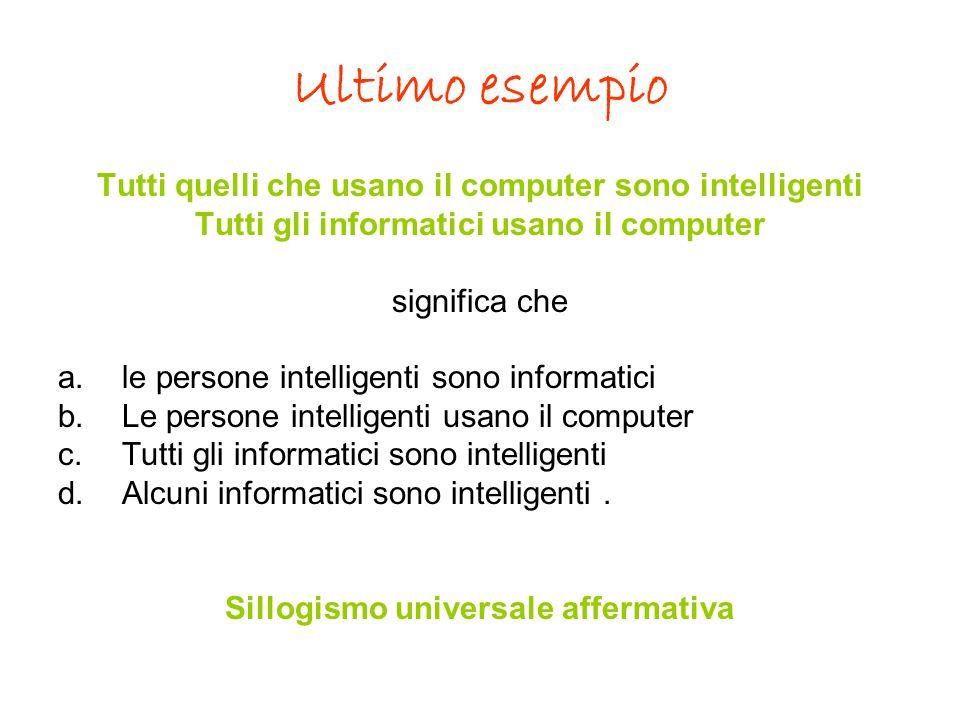 Ultimo esempio Tutti quelli che usano il computer sono intelligenti Tutti gli informatici usano il computer significa che a.le persone intelligenti so