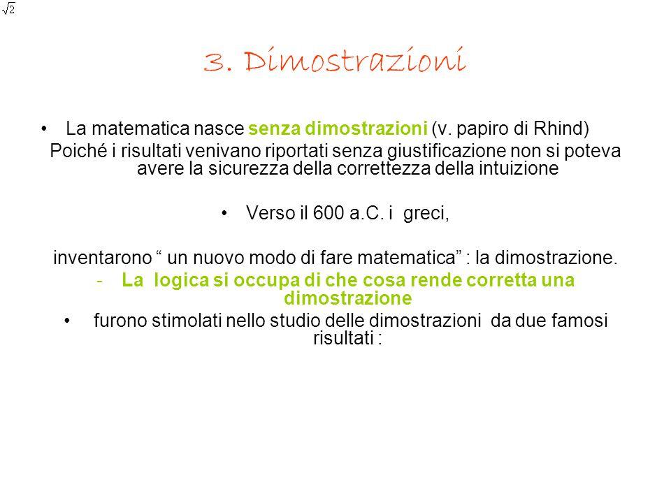 3. Dimostrazioni La matematica nasce senza dimostrazioni (v. papiro di Rhind) Poiché i risultati venivano riportati senza giustificazione non si potev