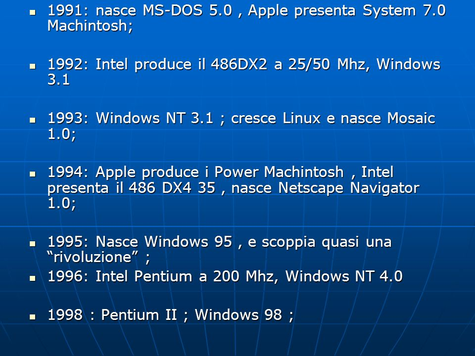 1991: nasce MS-DOS 5.0, Apple presenta System 7.0 Machintosh; 1991: nasce MS-DOS 5.0, Apple presenta System 7.0 Machintosh; 1992: Intel produce il 486