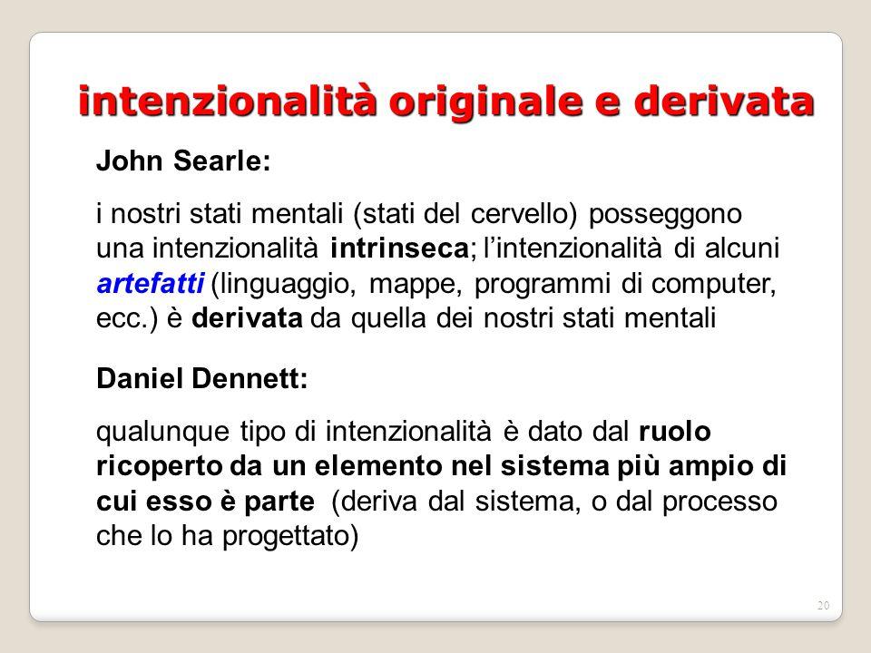 19 intenzionalità originale e derivata John Searle: i nostri stati mentali (stati del cervello) posseggono una intenzionalità intrinseca; l'intenzionalità di alcuni artefatti (linguaggio, mappe, programmi di computer, ecc.) è derivata da quella dei nostri stati mentali Daniel Dennett: anche le immagini mentali sono artefatti creati dal cervello, il cui significato è dato dalla sua posizione nell'economia delle attività interne del cervello e dal ruolo che queste hanno nel dirigere le attività del nostro organismo nella realtà che lo circonda