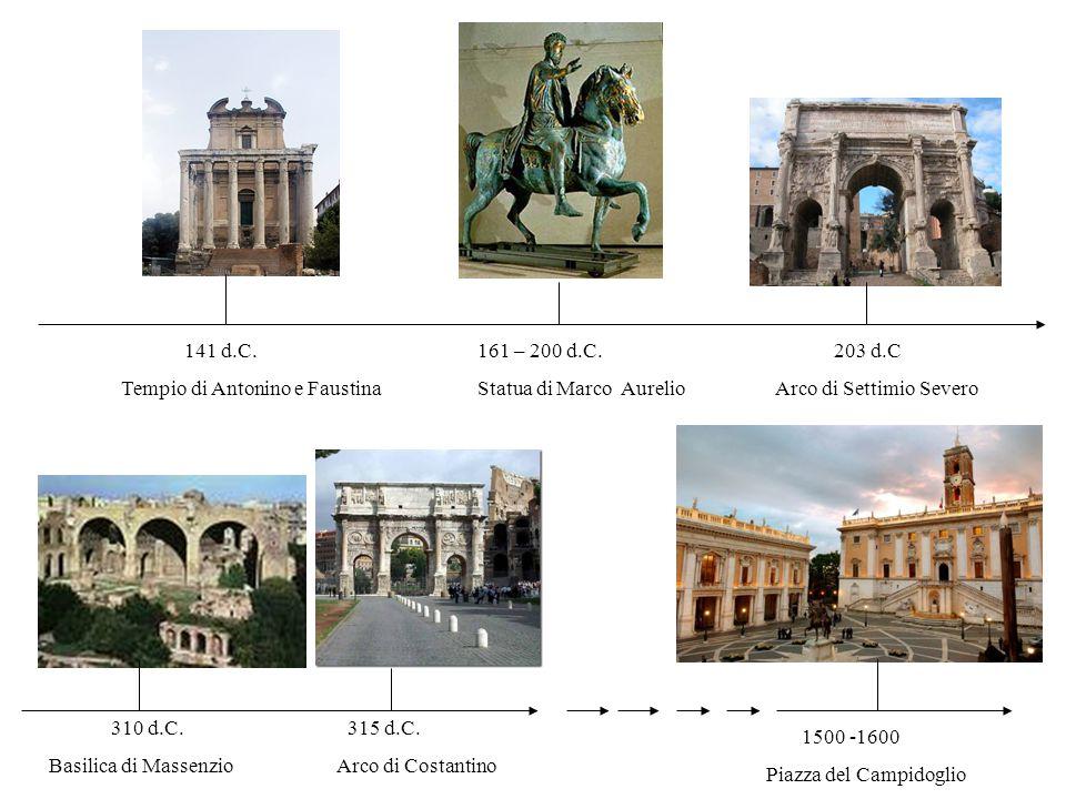 141 d.C. Tempio di Antonino e Faustina 203 d.C Arco di Settimio Severo 161 – 200 d.C. Statua di Marco Aurelio 1500 -1600 Piazza del Campidoglio 310 d.