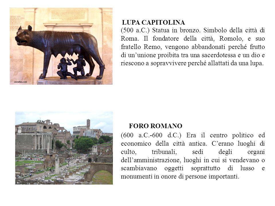 (500 a.C.) Statua in bronzo. Simbolo della città di Roma. Il fondatore della città, Romolo, e suo fratello Remo, vengono abbandonati perché frutto di