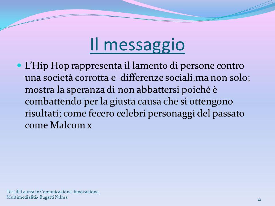 Il messaggio L'Hip Hop rappresenta il lamento di persone contro una società corrotta e differenze sociali,ma non solo; mostra la speranza di non abbat