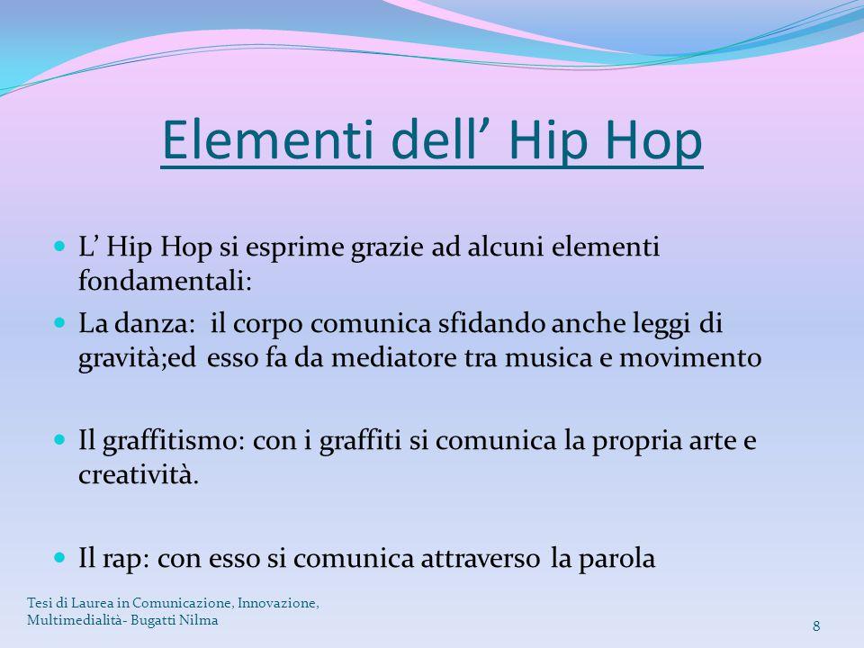 Elementi dell' Hip Hop L' Hip Hop si esprime grazie ad alcuni elementi fondamentali: La danza: il corpo comunica sfidando anche leggi di gravità;ed es