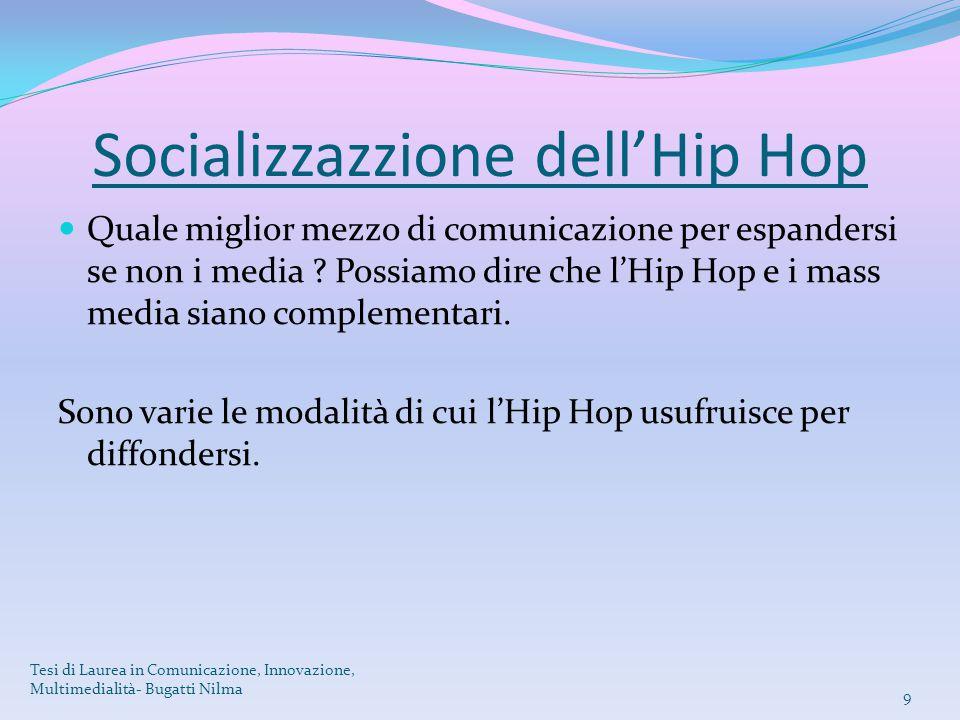 Socializzazzione dell'Hip Hop Quale miglior mezzo di comunicazione per espandersi se non i media ? Possiamo dire che l'Hip Hop e i mass media siano co