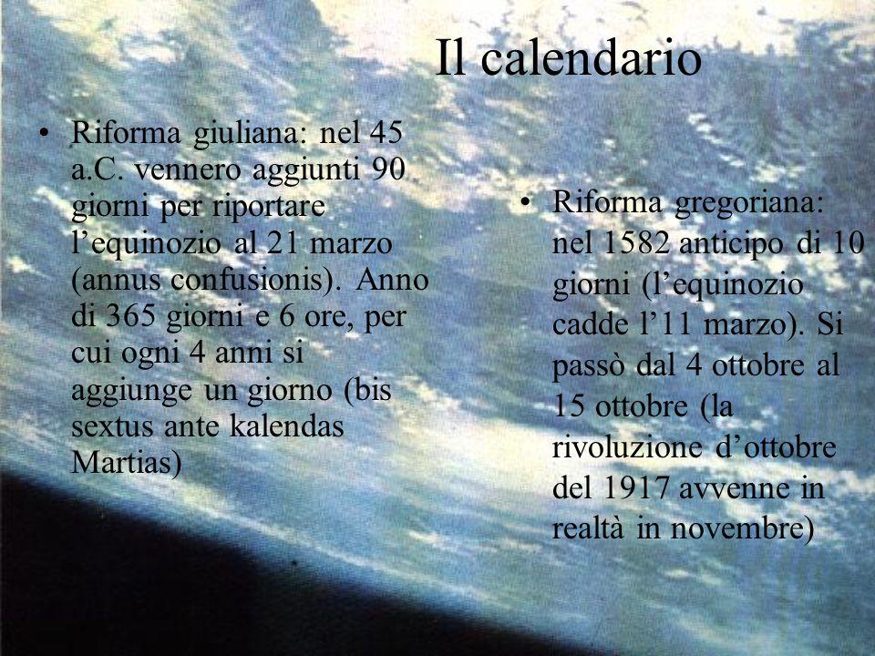 Il calendario Riforma giuliana: nel 45 a.C. vennero aggiunti 90 giorni per riportare l'equinozio al 21 marzo (annus confusionis). Anno di 365 giorni e