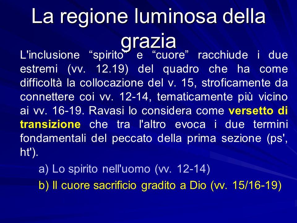 """La regione luminosa della grazia L'inclusione """"spirito"""" e """"cuore"""" racchiude i due estremi (vv. 12.19) del quadro che ha come difficoltà la collocazion"""