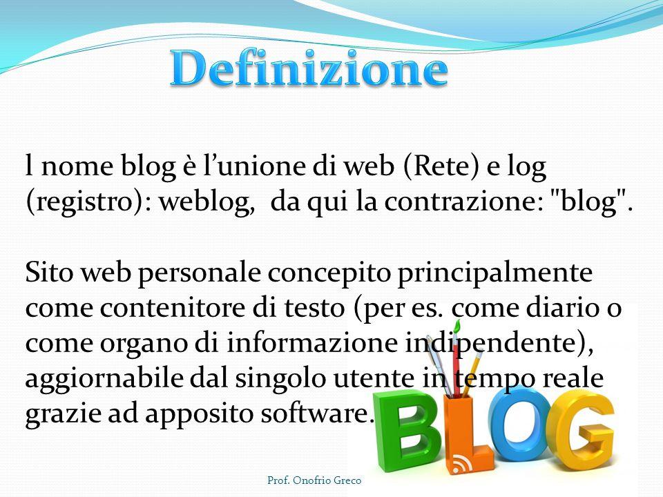 l nome blog è l'unione di web (Rete) e log (registro): weblog, da qui la contrazione: blog .
