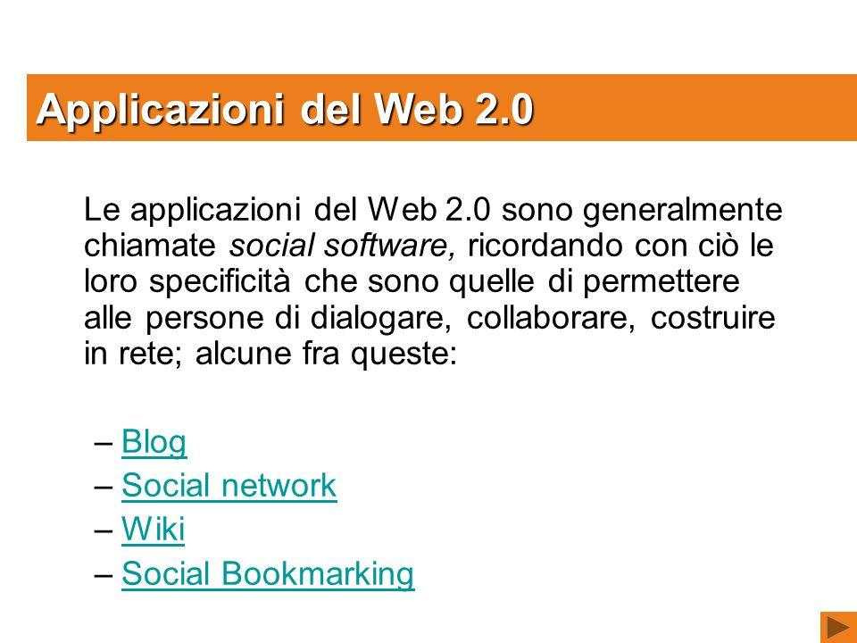 Le applicazioni del Web 2.0 sono generalmente chiamate social software, ricordando con ciò le loro specificità che sono quelle di permettere alle persone di dialogare, collaborare, costruire in rete; alcune fra queste: –BlogBlog –Social networkSocial network –WikiWiki –Social BookmarkingSocial Bookmarking Applicazioni del Web 2.0
