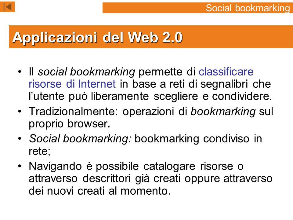 Il social bookmarking permette di classificare risorse di Internet in base a reti di segnalibri che l'utente può liberamente scegliere e condividere.