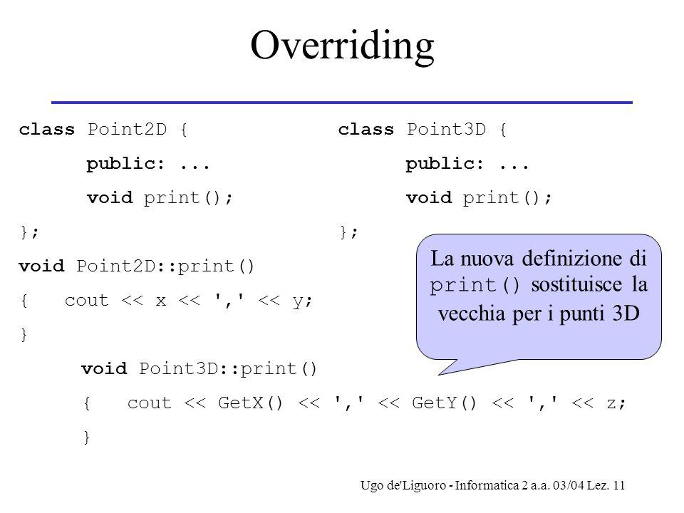 Ugo de'Liguoro - Informatica 2 a.a. 03/04 Lez. 11 Overriding class Point2D { public:... void print(); }; void Point2D::print() { cout << x << ',' << y