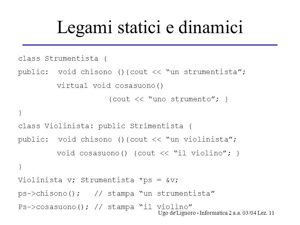 """Ugo de'Liguoro - Informatica 2 a.a. 03/04 Lez. 11 Legami statici e dinamici class Strumentista { public: void chisono (){cout << """"un strumentista""""; vi"""