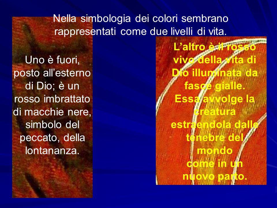 Nella simbologia dei colori sembrano rappresentati come due livelli di vita. Uno è fuori, posto all'esterno di Dio; è un rosso imbrattato di macchie n