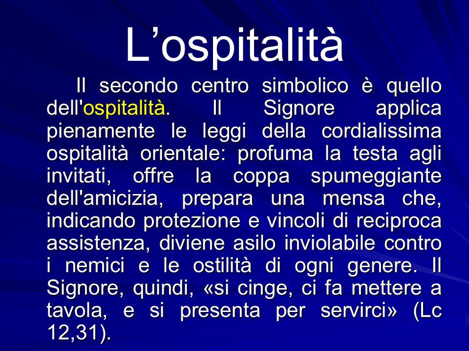 L'ospitalità Il secondo centro simbolico è quello dell'ospitalità. Il Signore applica pienamente le leggi della cordialissima ospitalità orientale: pr