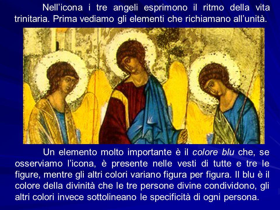 Nell'icona i tre angeli esprimono il ritmo della vita trinitaria. Prima vediamo gli elementi che richiamano all'unità. Un elemento molto importante è