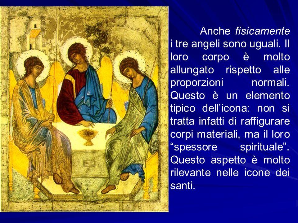 Anche fisicamente i tre angeli sono uguali. Il loro corpo è molto allungato rispetto alle proporzioni normali. Questo è un elemento tipico dell'icona: