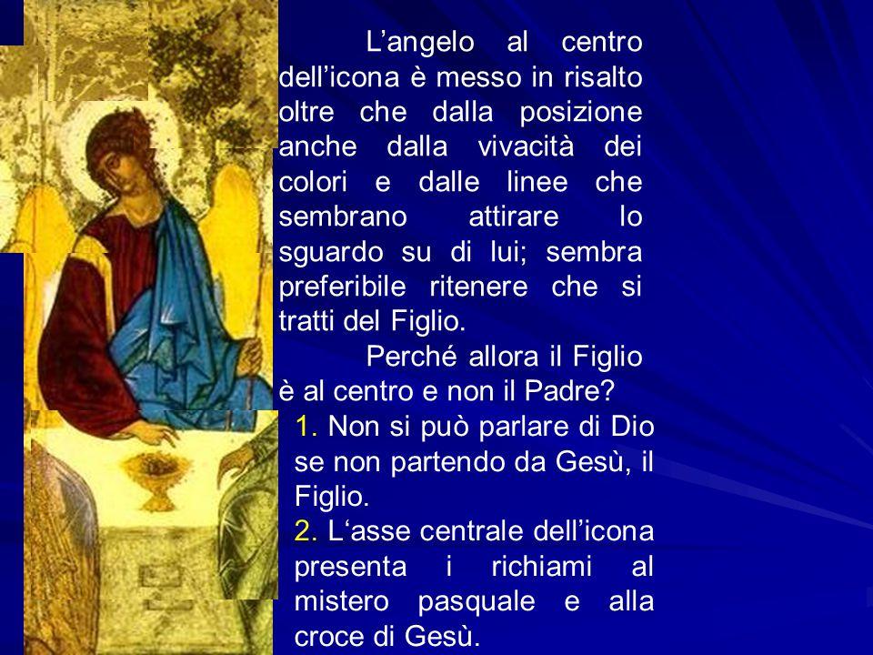 L'angelo al centro dell'icona è messo in risalto oltre che dalla posizione anche dalla vivacità dei colori e dalle linee che sembrano attirare lo sgua