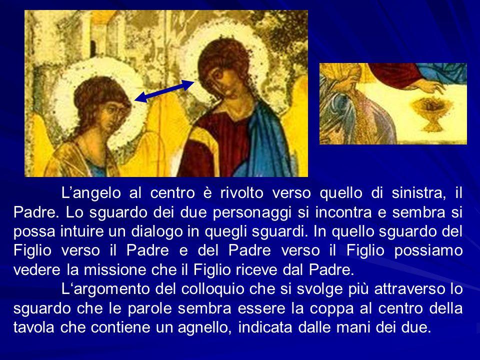L'angelo al centro è rivolto verso quello di sinistra, il Padre. Lo sguardo dei due personaggi si incontra e sembra si possa intuire un dialogo in que