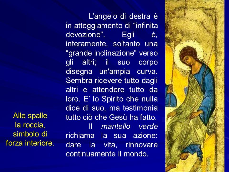 """L'angelo di destra è in atteggiamento di """"infinita devozione"""". Egli è, interamente, soltanto una """"grande inclinazione"""" verso gli altri; il suo corpo d"""