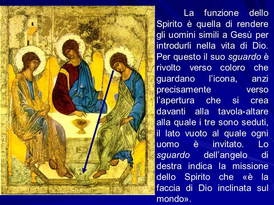 La funzione dello Spirito è quella di rendere gli uomini simili a Gesù per introdurli nella vita di Dio. Per questo il suo sguardo è rivolto verso col