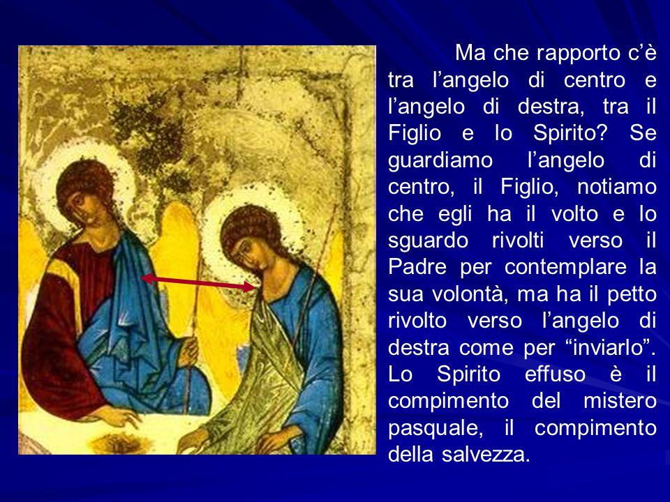 Ma che rapporto c'è tra l'angelo di centro e l'angelo di destra, tra il Figlio e lo Spirito? Se guardiamo l'angelo di centro, il Figlio, notiamo che e