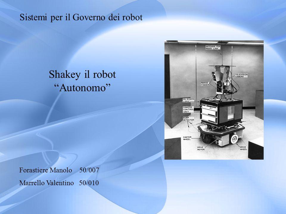 Sistemi per il Governo dei robot Shakey il robot Autonomo Forastiere Manolo 50/007 Marrello Valentino 50/010