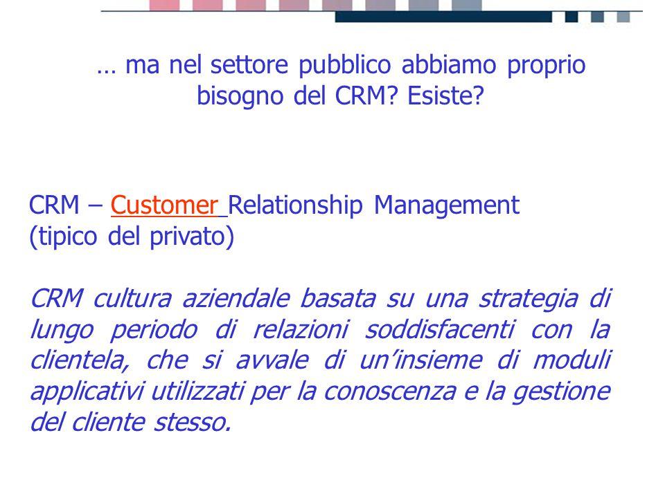 progetti servizi tecnologie CRM – Customer Relationship Management (tipico del privato) CRM cultura aziendale basata su una strategia di lungo periodo