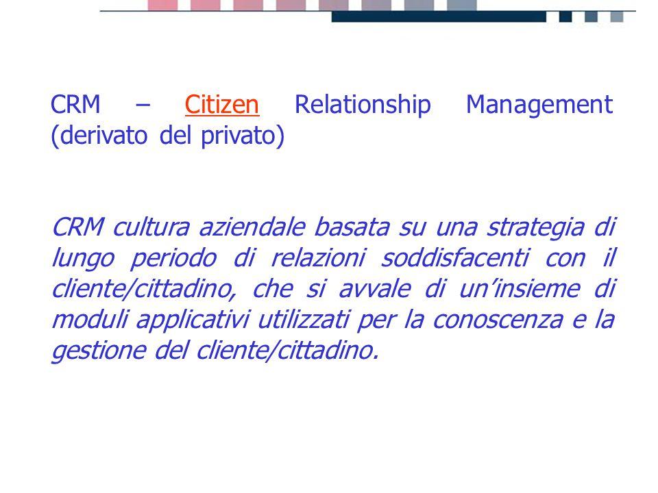 progetti servizi tecnologie CRM – Citizen Relationship Management (derivato del privato) CRM cultura aziendale basata su una strategia di lungo period