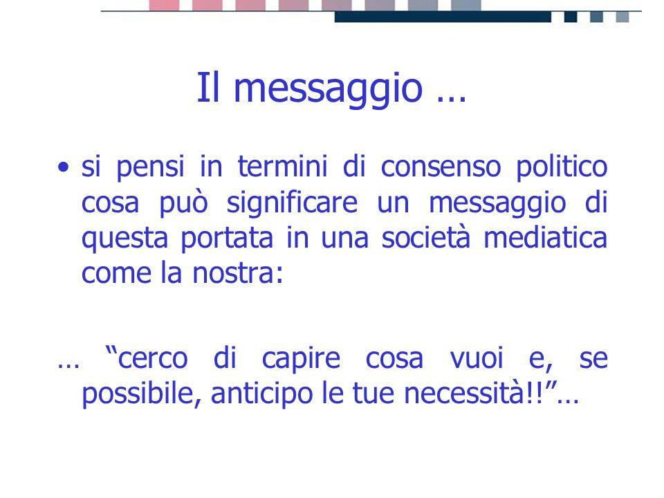progetti servizi tecnologie Il messaggio … si pensi in termini di consenso politico cosa può significare un messaggio di questa portata in una società
