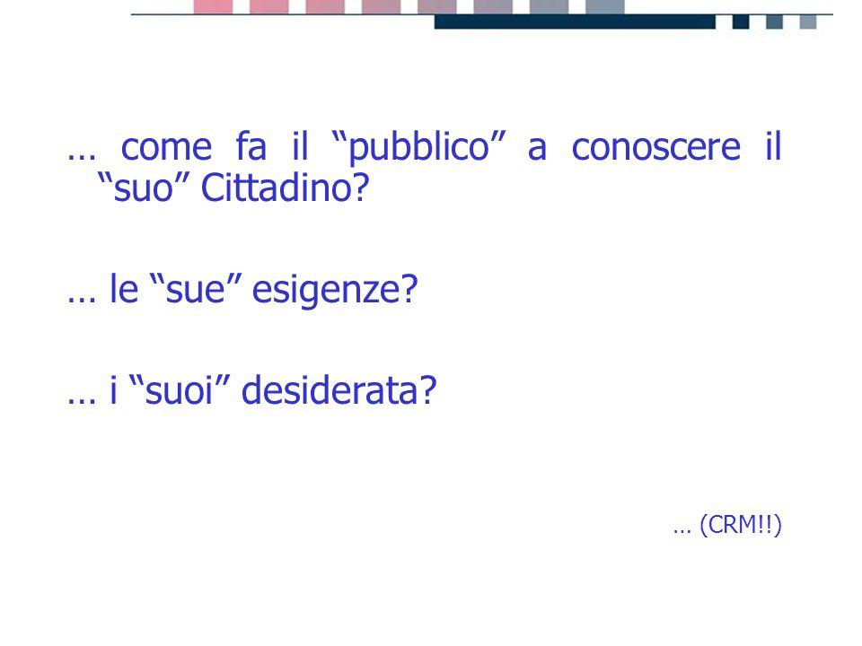 """progetti servizi tecnologie … come fa il """"pubblico"""" a conoscere il """"suo"""" Cittadino? … le """"sue"""" esigenze? … i """"suoi"""" desiderata? … (CRM!!)"""