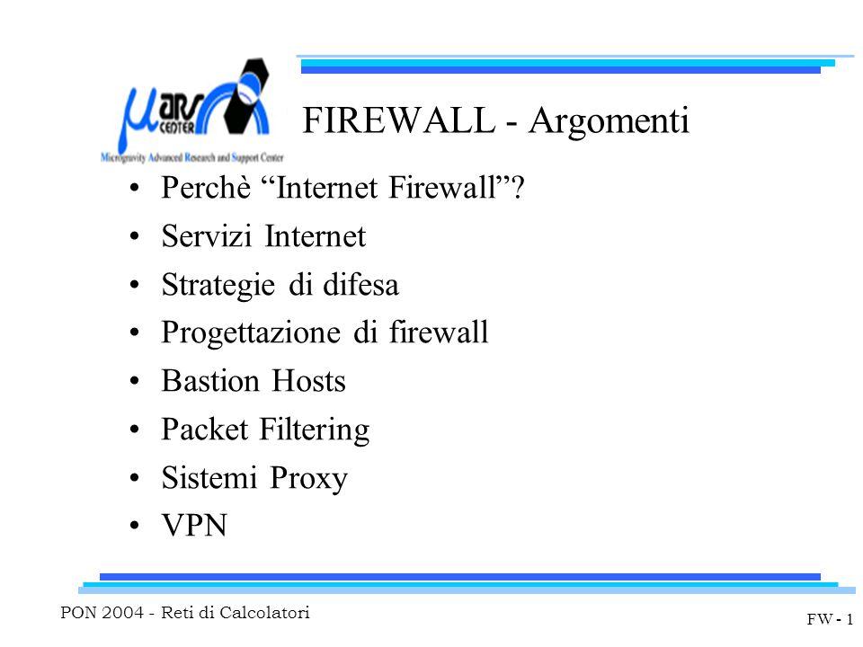 PON 2004 - Reti di Calcolatori FW - 1 FIREWALL - Argomenti Perchè Internet Firewall .