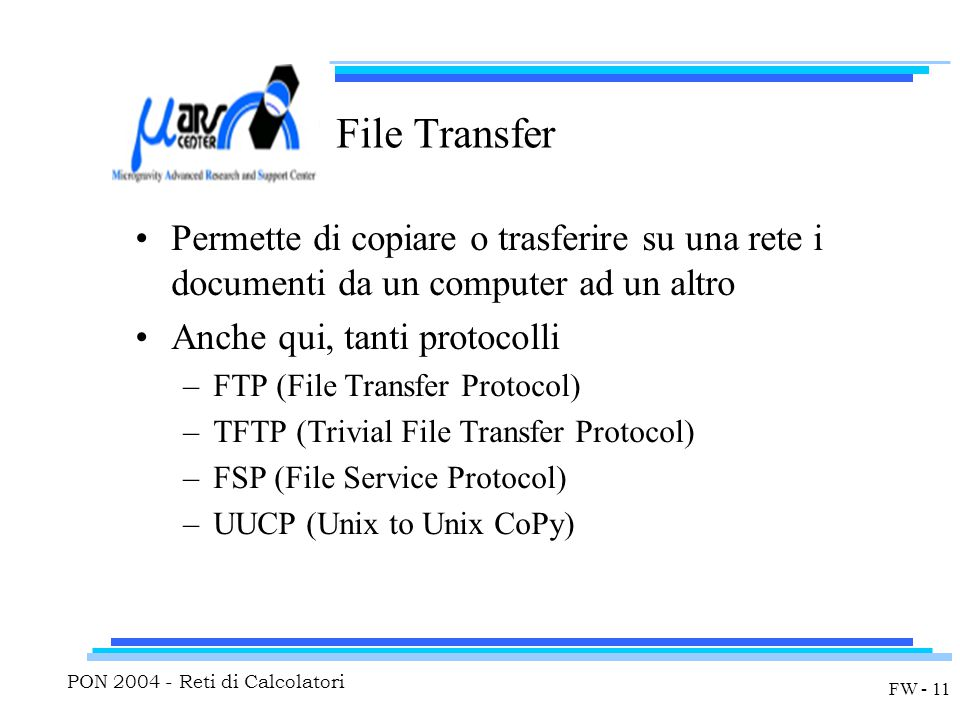 PON 2004 - Reti di Calcolatori FW - 11 File Transfer Permette di copiare o trasferire su una rete i documenti da un computer ad un altro Anche qui, tanti protocolli –FTP (File Transfer Protocol) –TFTP (Trivial File Transfer Protocol) –FSP (File Service Protocol) –UUCP (Unix to Unix CoPy)