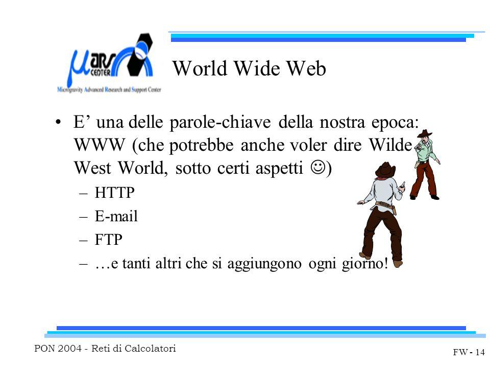 PON 2004 - Reti di Calcolatori FW - 14 World Wide Web E' una delle parole-chiave della nostra epoca: WWW (che potrebbe anche voler dire Wilde West World, sotto certi aspetti ) –HTTP –E-mail –FTP –…e tanti altri che si aggiungono ogni giorno!