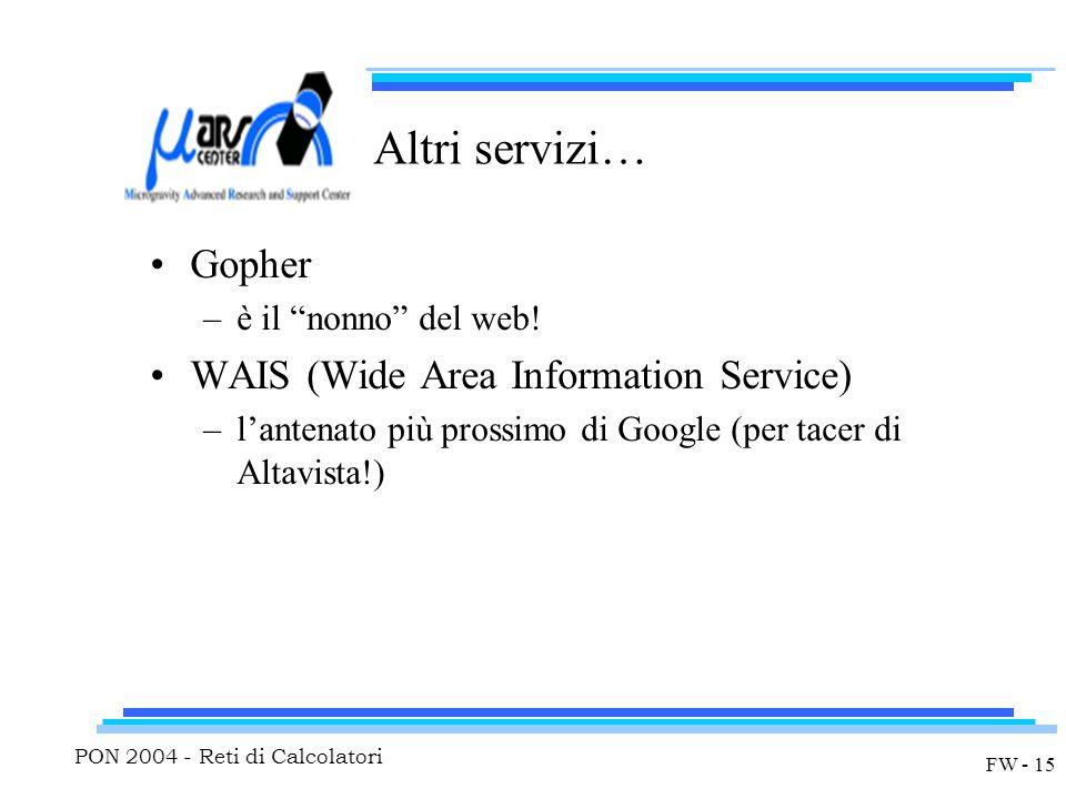 PON 2004 - Reti di Calcolatori FW - 15 Altri servizi… Gopher –è il nonno del web.