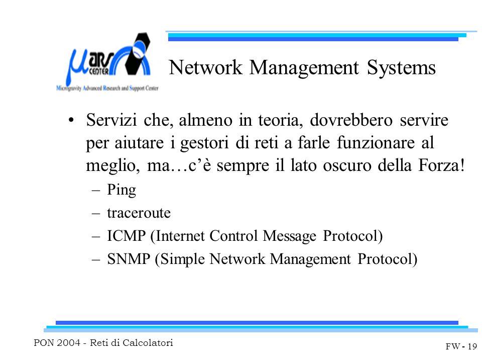 PON 2004 - Reti di Calcolatori FW - 19 Network Management Systems Servizi che, almeno in teoria, dovrebbero servire per aiutare i gestori di reti a farle funzionare al meglio, ma…c'è sempre il lato oscuro della Forza.