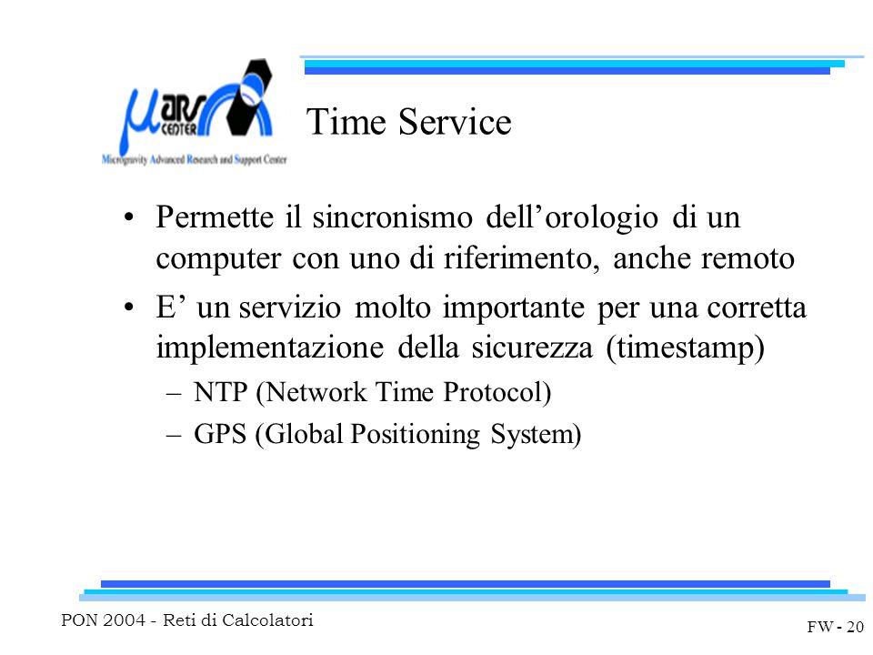 PON 2004 - Reti di Calcolatori FW - 20 Time Service Permette il sincronismo dell'orologio di un computer con uno di riferimento, anche remoto E' un servizio molto importante per una corretta implementazione della sicurezza (timestamp) –NTP (Network Time Protocol) –GPS (Global Positioning System)