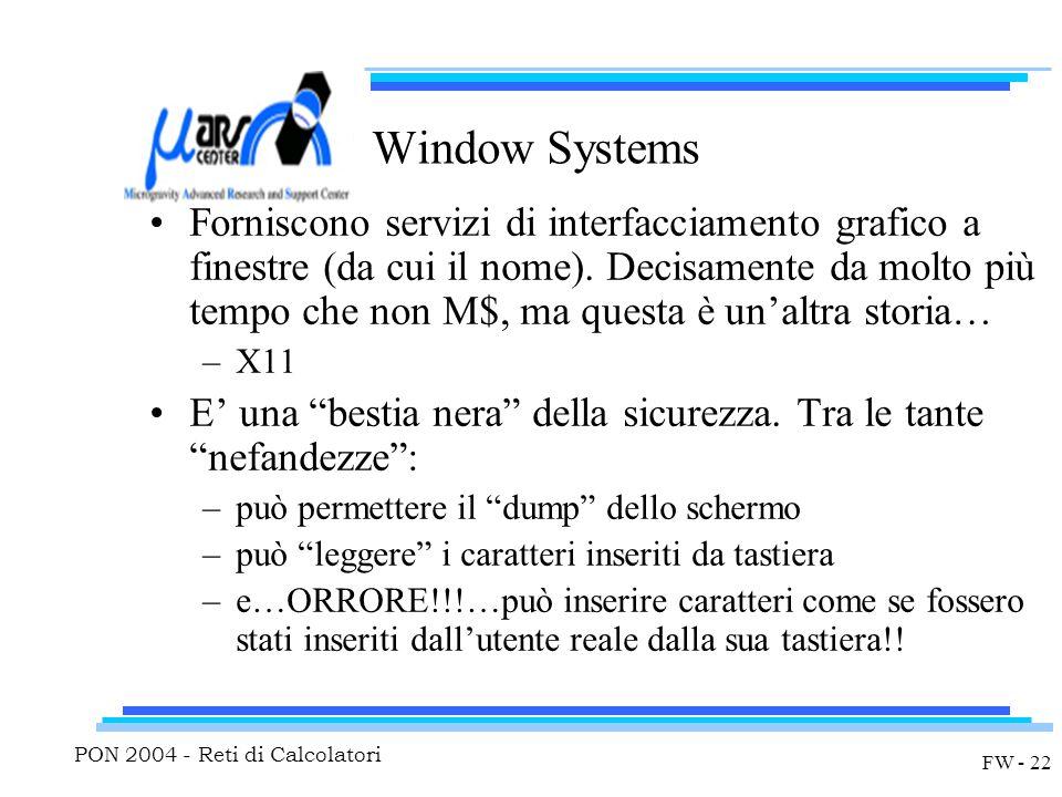 PON 2004 - Reti di Calcolatori FW - 22 Window Systems Forniscono servizi di interfacciamento grafico a finestre (da cui il nome).
