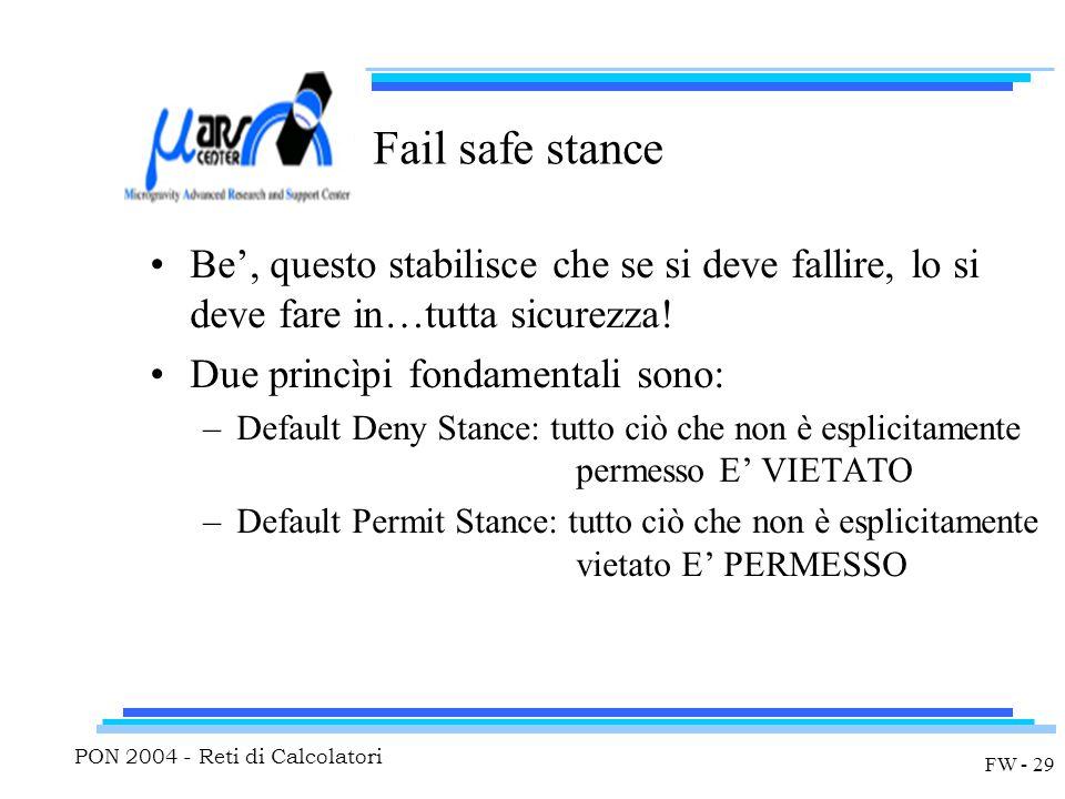 PON 2004 - Reti di Calcolatori FW - 29 Fail safe stance Be', questo stabilisce che se si deve fallire, lo si deve fare in…tutta sicurezza.