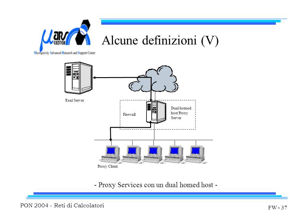 PON 2004 - Reti di Calcolatori FW - 37 Alcune definizioni (V) - Proxy Services con un dual homed host - Dual homed host Proxy Server Firewall Proxy Cl