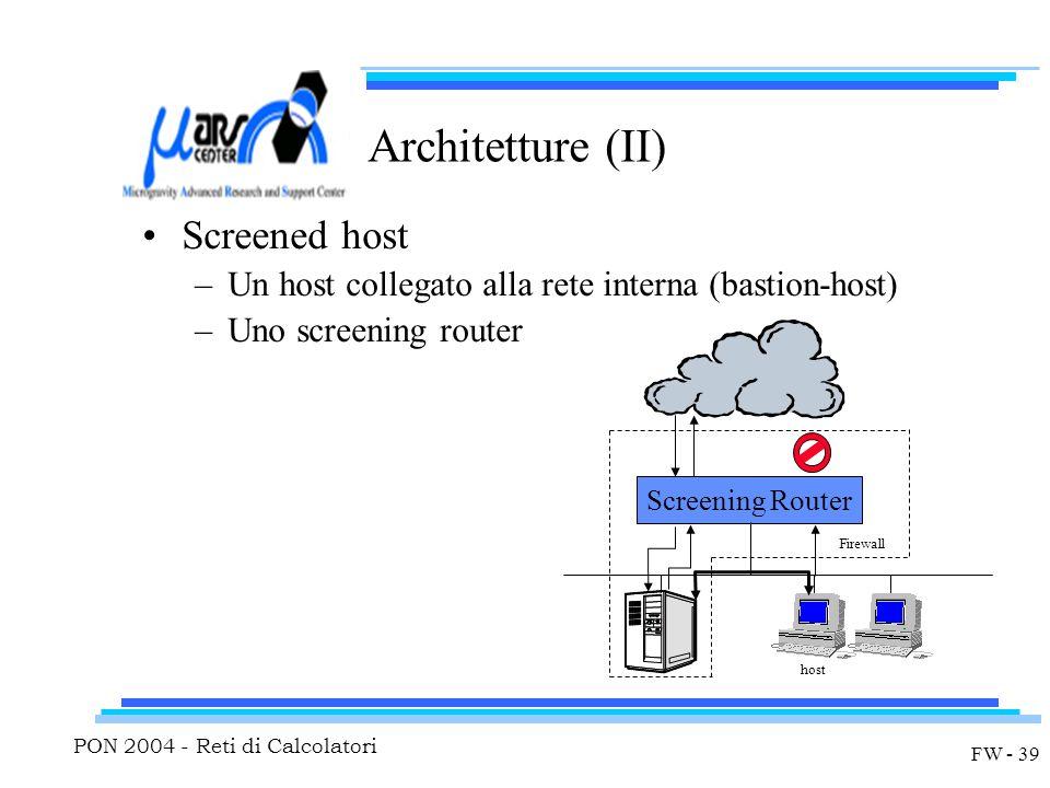 PON 2004 - Reti di Calcolatori FW - 39 Architetture (II) Screened host –Un host collegato alla rete interna (bastion-host) –Uno screening router host Screening Router Firewall