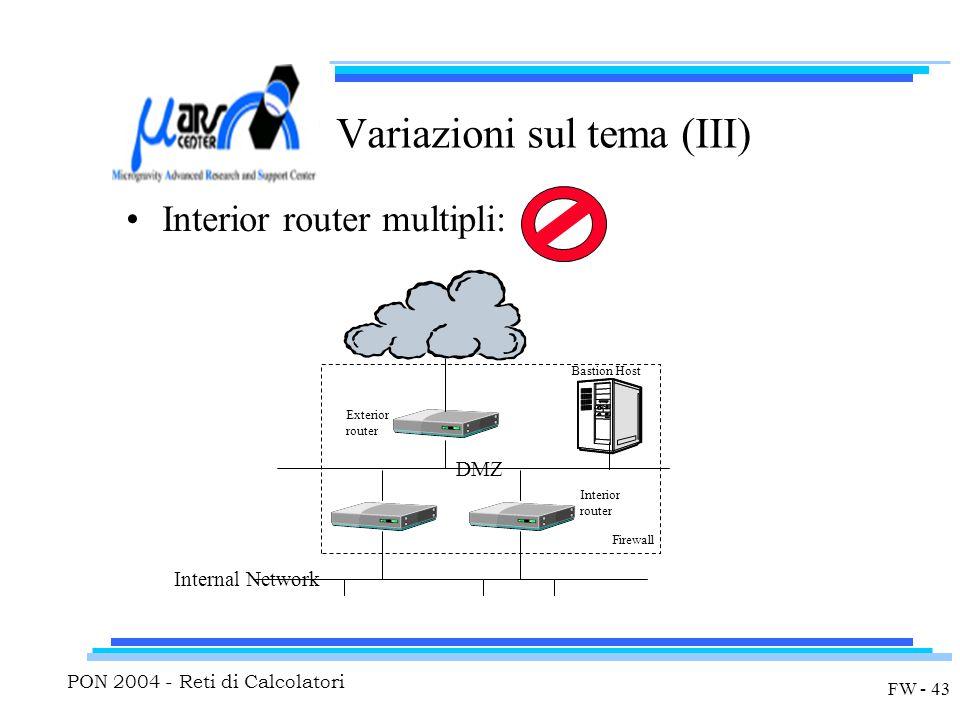 PON 2004 - Reti di Calcolatori FW - 43 Variazioni sul tema (III) Interior router multipli: Exterior router Interior router Bastion Host DMZ Internal N