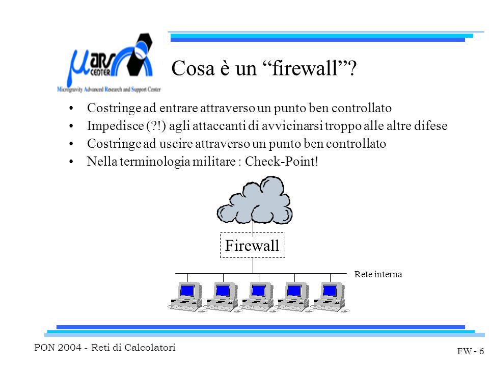 PON 2004 - Reti di Calcolatori FW - 6 Cosa è un firewall .