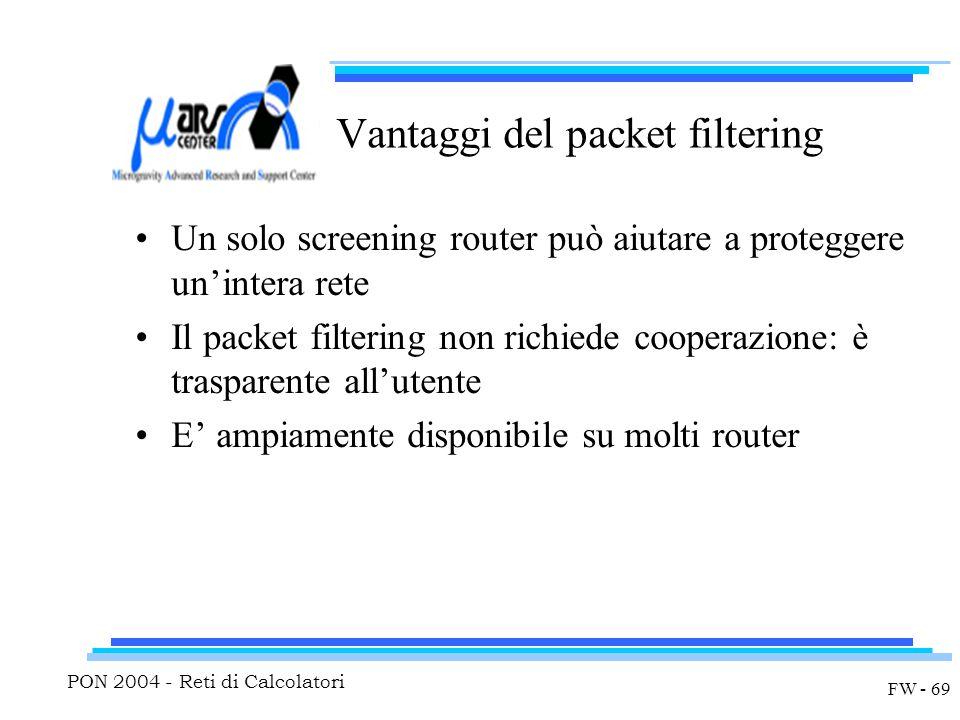 PON 2004 - Reti di Calcolatori FW - 69 Vantaggi del packet filtering Un solo screening router può aiutare a proteggere un'intera rete Il packet filtering non richiede cooperazione: è trasparente all'utente E' ampiamente disponibile su molti router