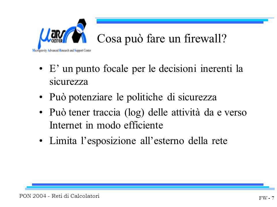 PON 2004 - Reti di Calcolatori FW - 7 Cosa può fare un firewall.