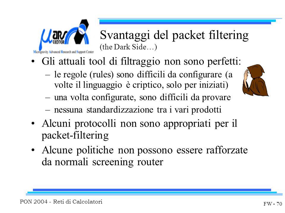 PON 2004 - Reti di Calcolatori FW - 70 Svantaggi del packet filtering (the Dark Side…) Gli attuali tool di filtraggio non sono perfetti: –le regole (rules) sono difficili da configurare (a volte il linguaggio è criptico, solo per iniziati) –una volta configurate, sono difficili da provare –nessuna standardizzazione tra i vari prodotti Alcuni protocolli non sono appropriati per il packet-filtering Alcune politiche non possono essere rafforzate da normali screening router